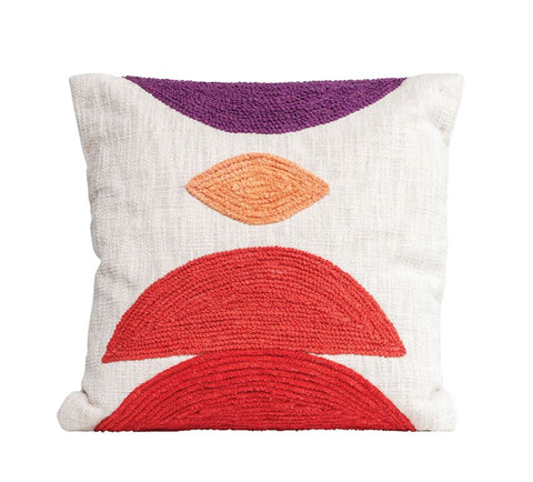 "18"" Square Cotton Pillow W/Embroidery"