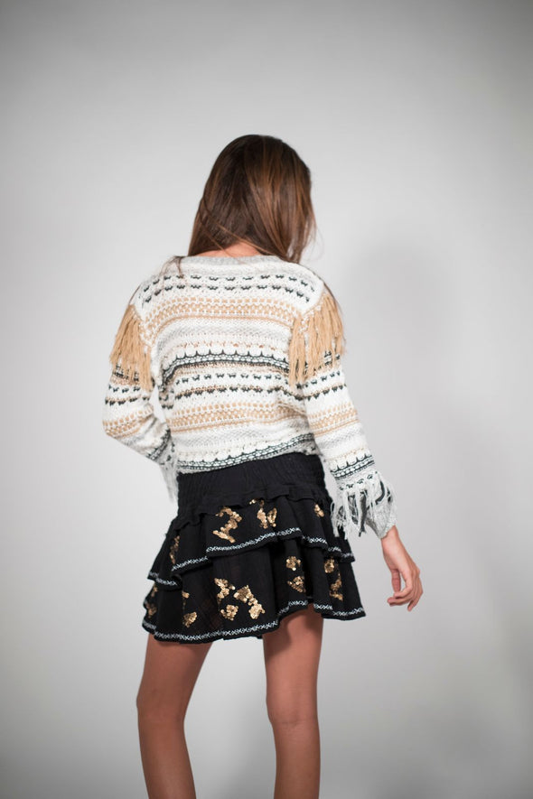 Sequin Mini Skirt W/ Smocked Waist