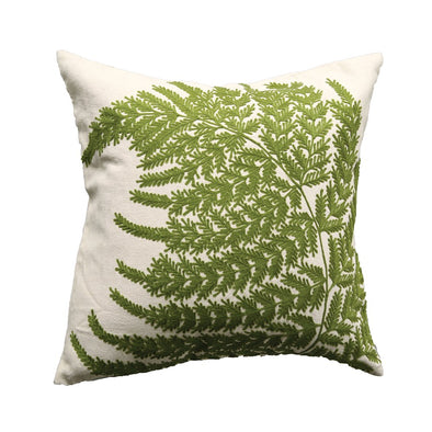 Square Cotton Pillow W/Fern Fronds Embroidery