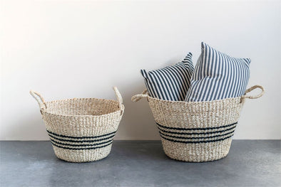 Natural Woven Palm & Seagrass Striped Basket