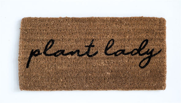 "Natural Coir Doormat ""Plant Lady"""