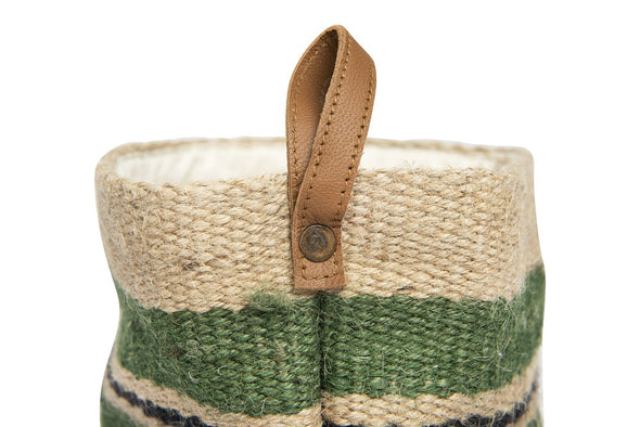 Jute Basket W/Leather Loop