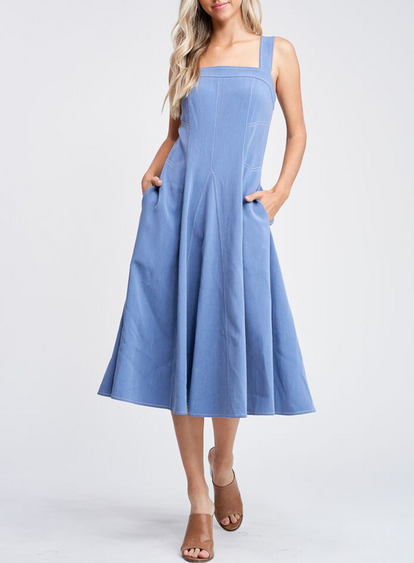 Contrast Stitch Sleeveless Woven Midi Dress