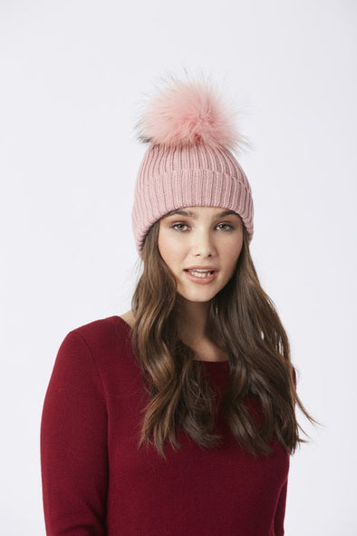 Wool and Fur Pom Pom Beanie