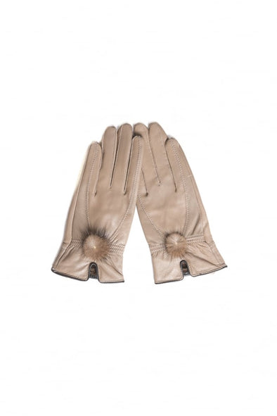 Leather Gloves w/Mink Bobble