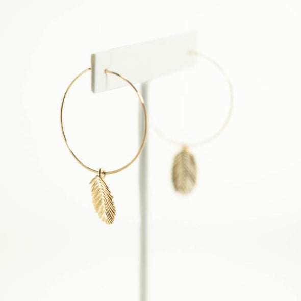 Pond Frond Hoop Earrings