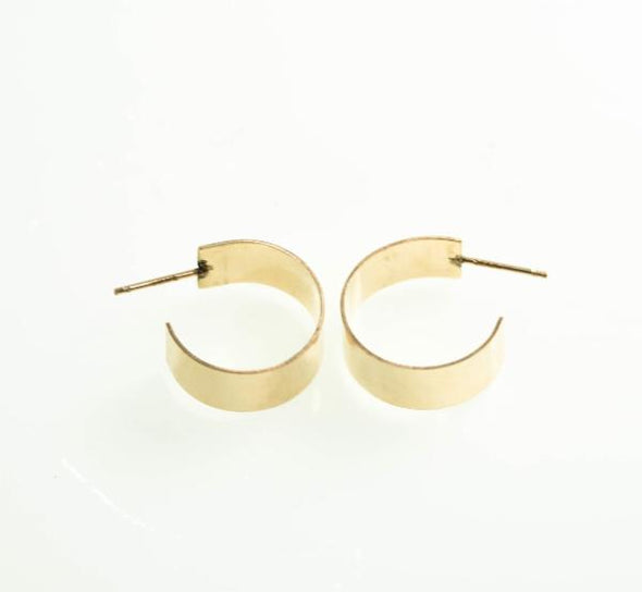 Wide Post Hoop Earrings - Gold Fill