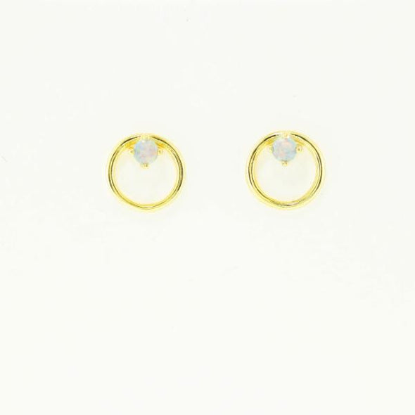 Circle With Opal Post Earrings