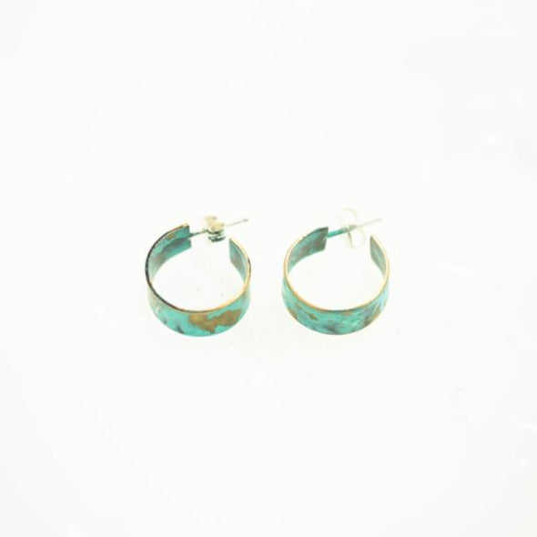 Wide Patina Post Hoop Earrings
