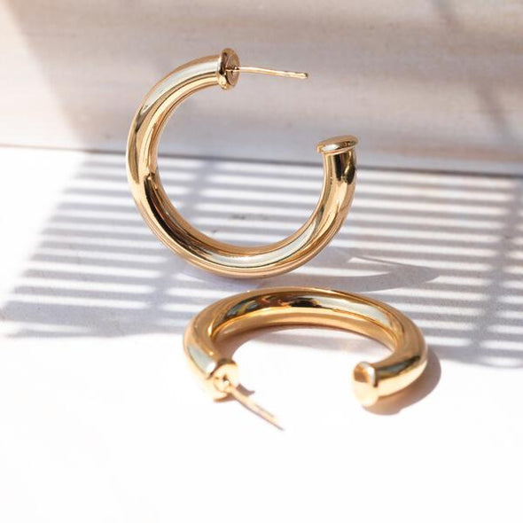 Medium Tube Post Hoop Earrings