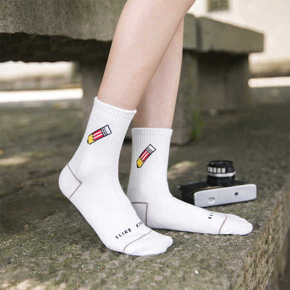 White Cartoon Letters Print Socks
