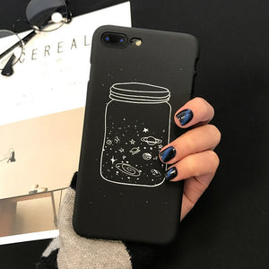 Cute Cartoon Wishing Bottle / Planet Moon Phone Case For iPhone