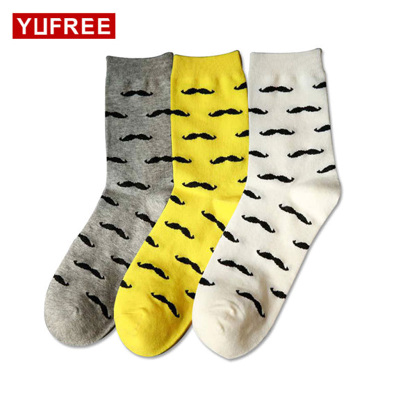 Casual Pure Cotton Beard Pattern Socks