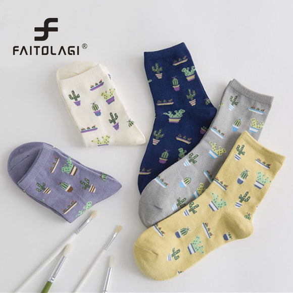 Cute Cactus Pattern Socks