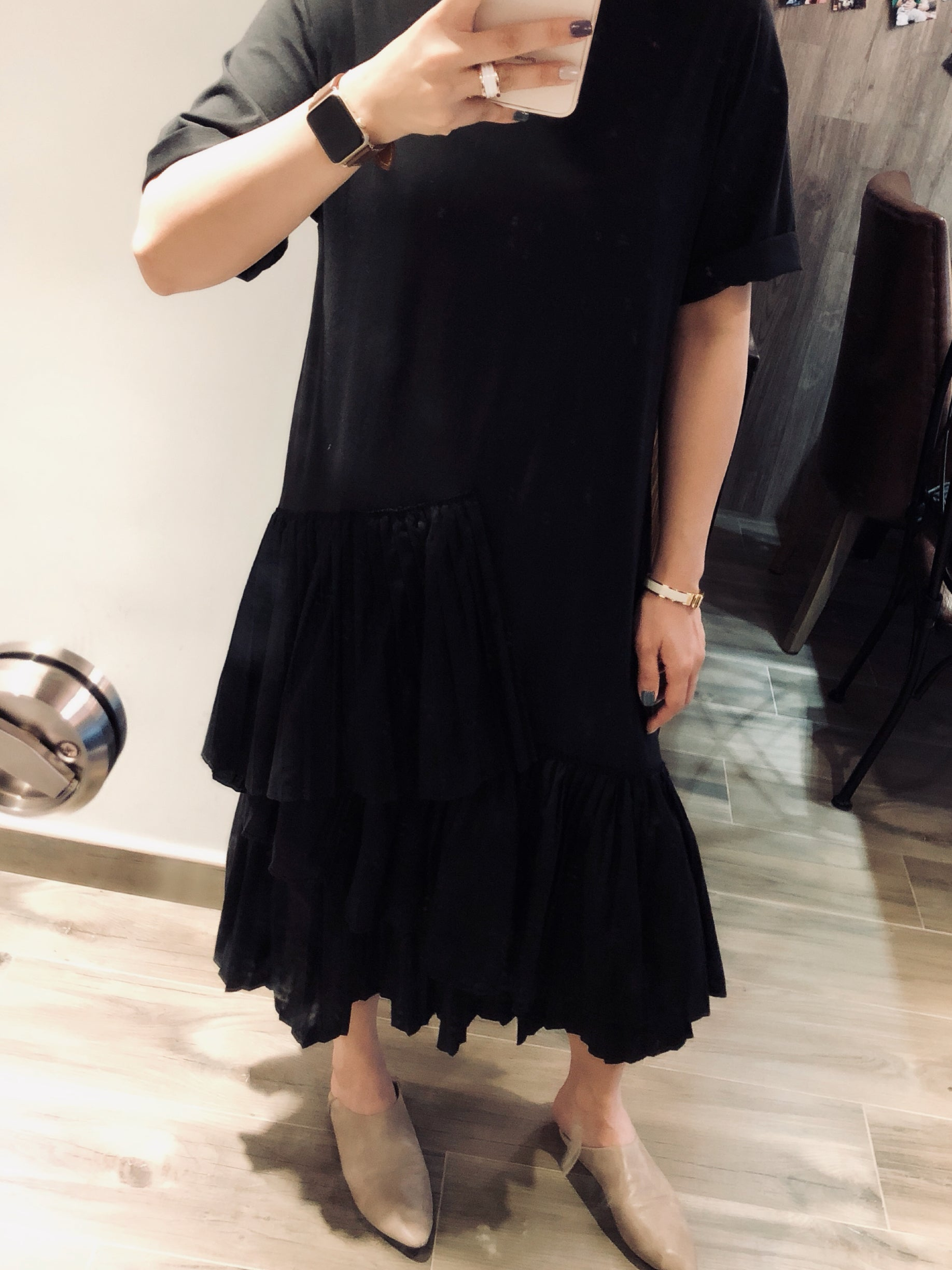 Abigail black ruffle hem dress