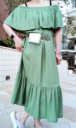 Isabella green drop shoulder dress