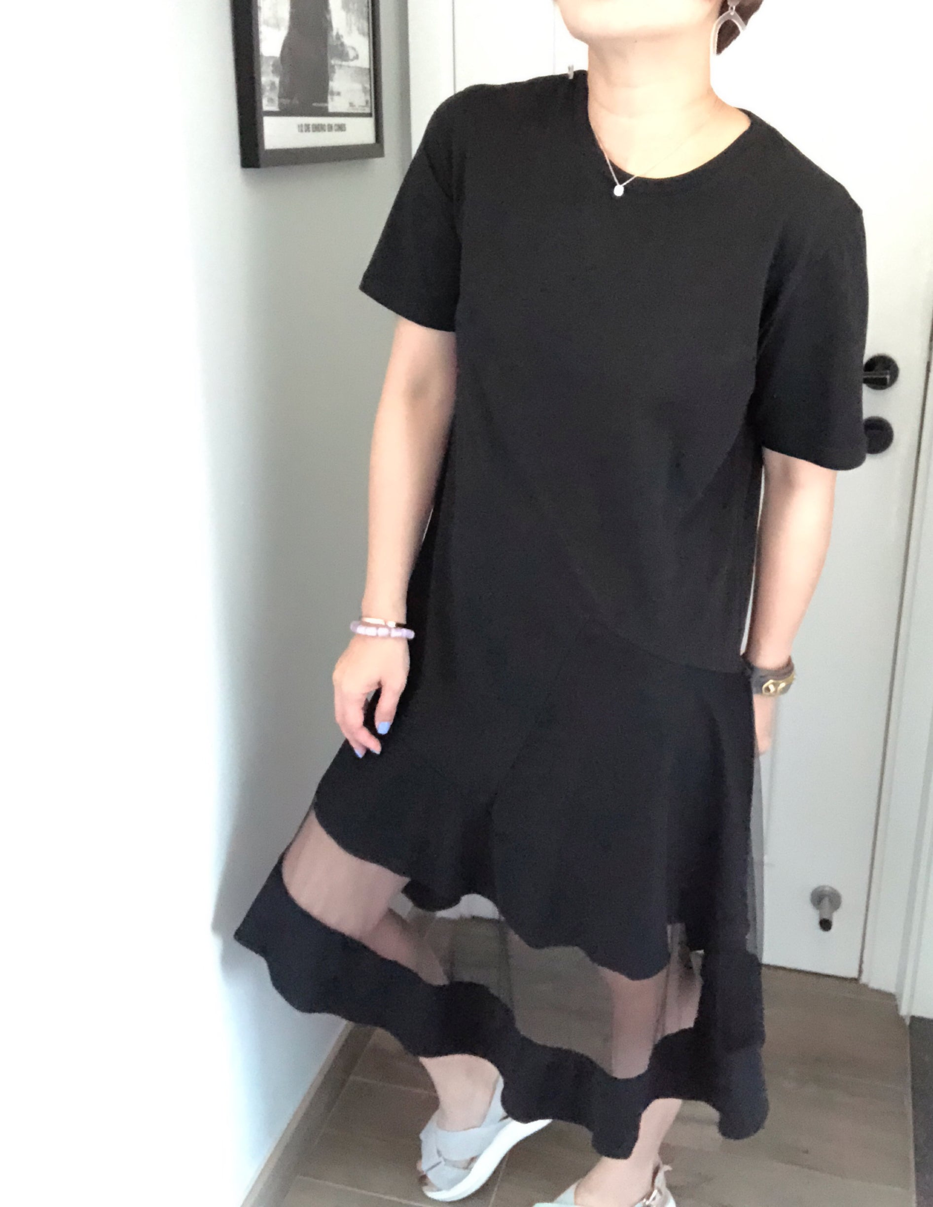 Ariana black organza hem dress