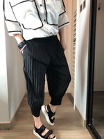 Pleats design cropped pants