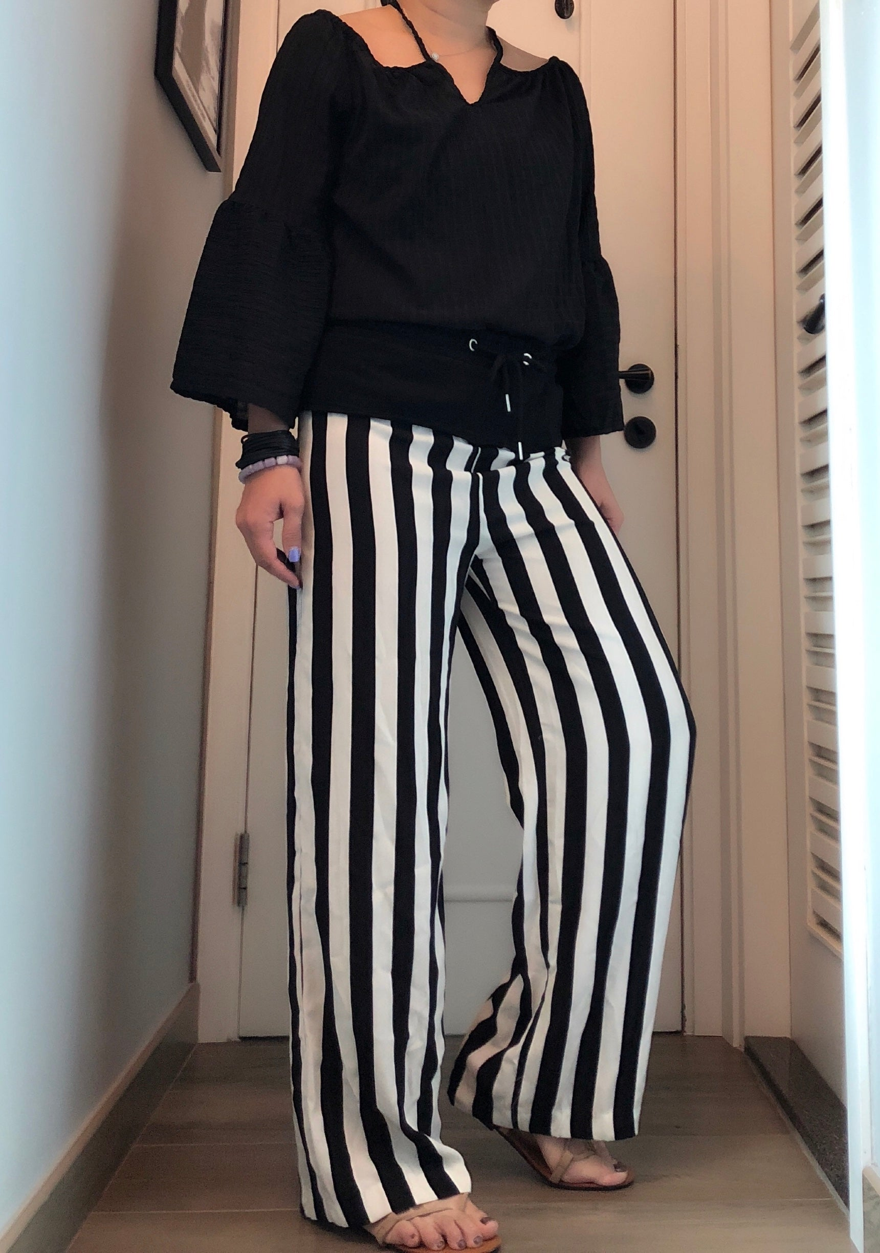 Sara block stripes contrast fabric pants