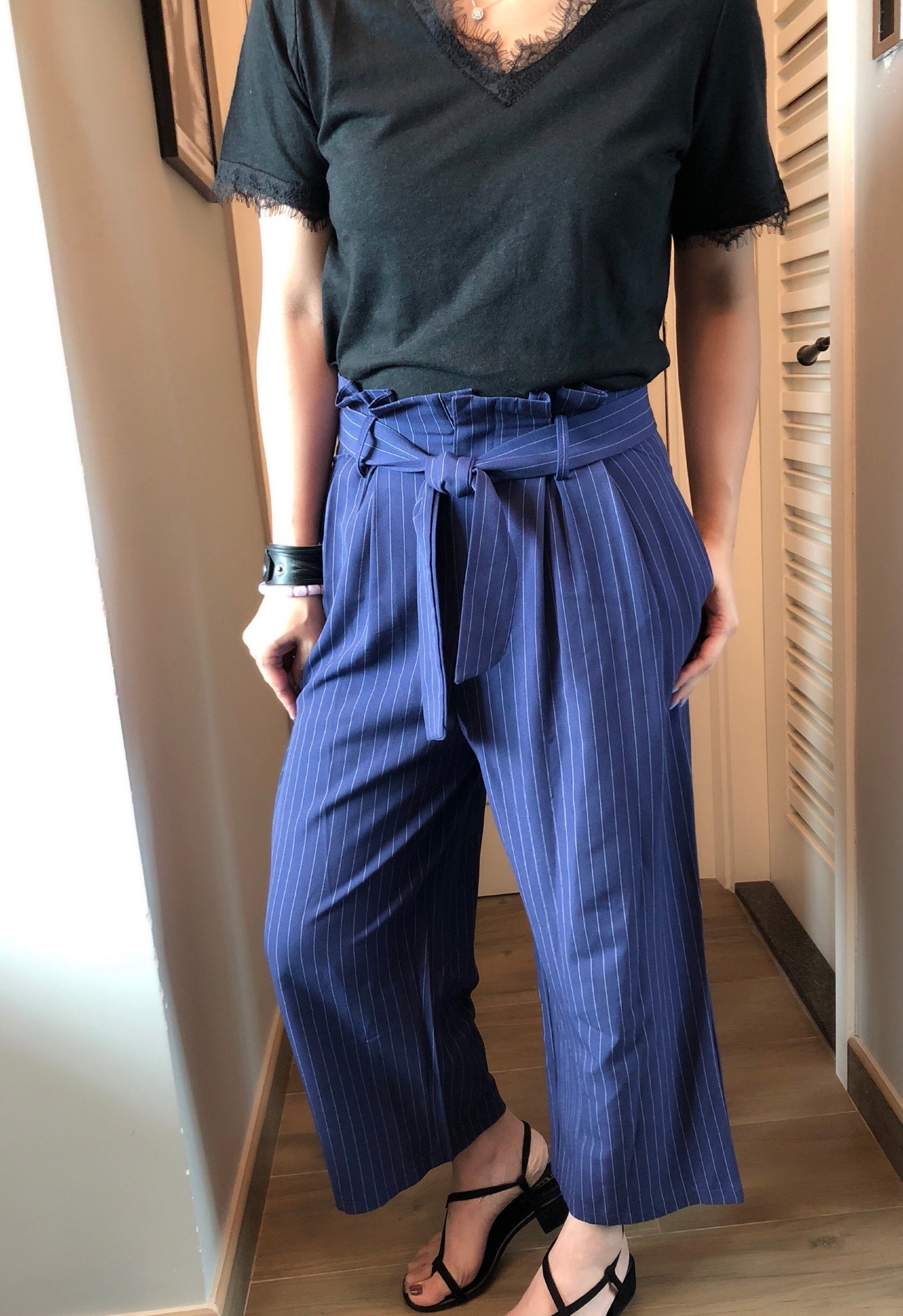 Alina stripe front tide cropped pants