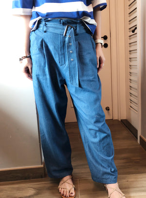 High waisted wide leg denim jeans