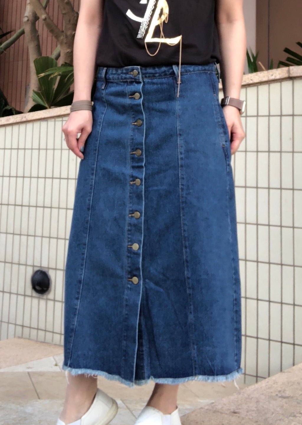 Samantha button denim skirt