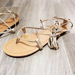 Free tie leather straps sandals