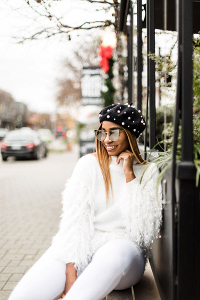 White Fuzzy Fringe Sweater - best online boutique