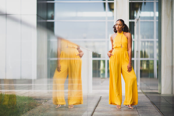 Yellow Halter Jumpsuit - best online boutique