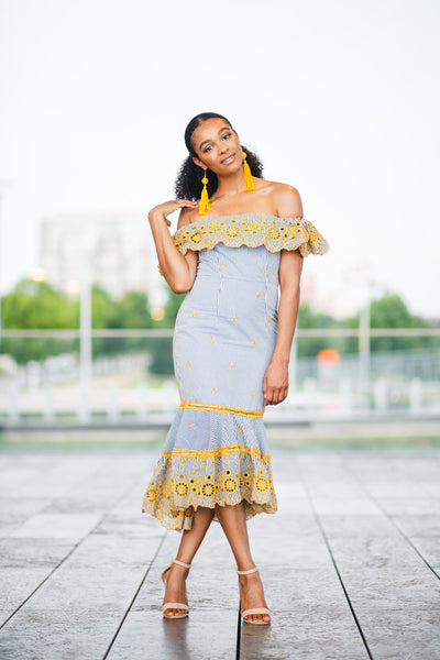 Yellow Off-the-Shoulder Ruffle Dress - best online boutique