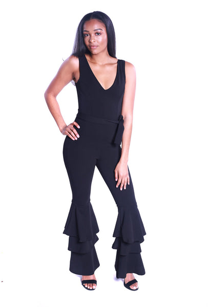 black layered ruffled jumpsuit - best online boutique