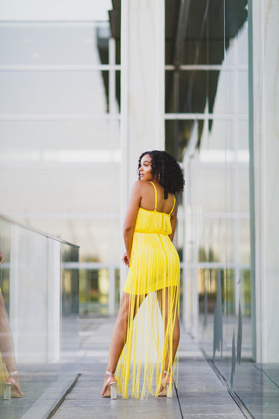 Yellow Fringe Bandage Dress - best online boutique
