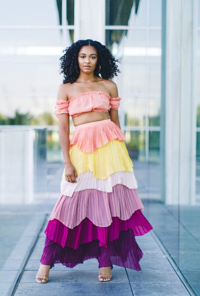 Multi-Colored Layered Skirt Set - best online boutique