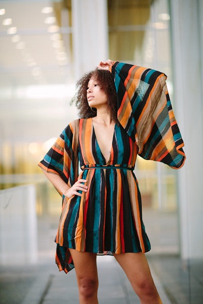 Multi-colored Striped Dress - best online boutique