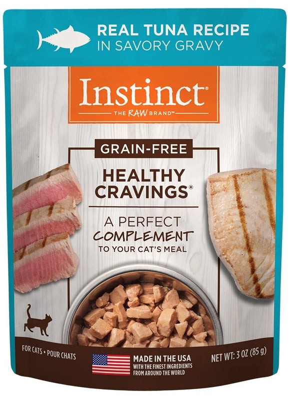 Instinct Healthy Cravings Grain Free Tender Tuna Recipe Meal Topper Pouches for Cats