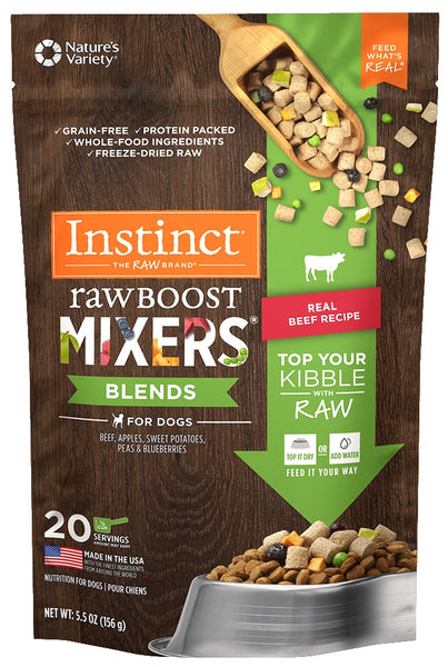 Nature's Variety Instinct Grain Free Freeze Dried Raw Boost Mixers Blends Beef Recipe Dog Food Topper