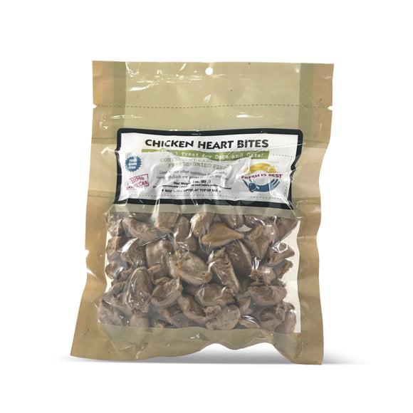 Fresh Is Best Freeze Dried Chicken Heart Bites Dog & Cat Raw Treats - 3oz.