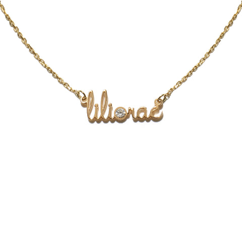 Mini Name Necklace Two Names One Stone