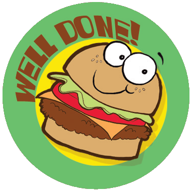 Hamburger Dr. Stinky Scratch-N-Sniff Stickers (2 sheets)
