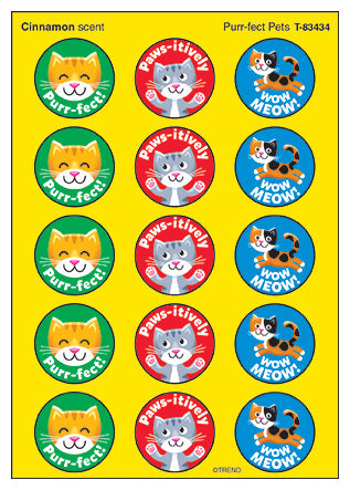 Purr-fect Pets Cinnamon Scented Cats Scratch 'n Sniff Stinky Stickers *NEW!
