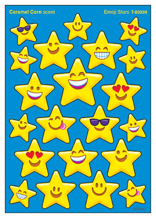 Emoji Stars Caramel Corn Scented Scratch 'n Sniff Mixed Shape Stinky Stickers *NEW!