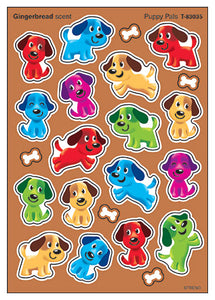 Puppy Pals Gingerbread Scented Scratch 'n Sniff Mixed Shape Stinky Stickers *NEW!