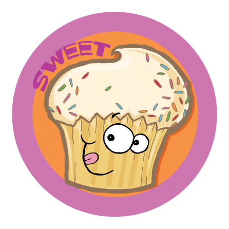 Cupcake Dr. Stinky Scratch -N-Sniff Stickers (2 sheets)