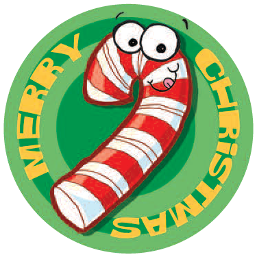 Candy Cane Dr. Stinky Scratch-N-Sniff Stickers (2 sheets)