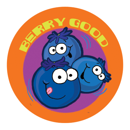 Blueberry Dr. Stinky Scratch -N-Sniff Stickers (2 sheets)
