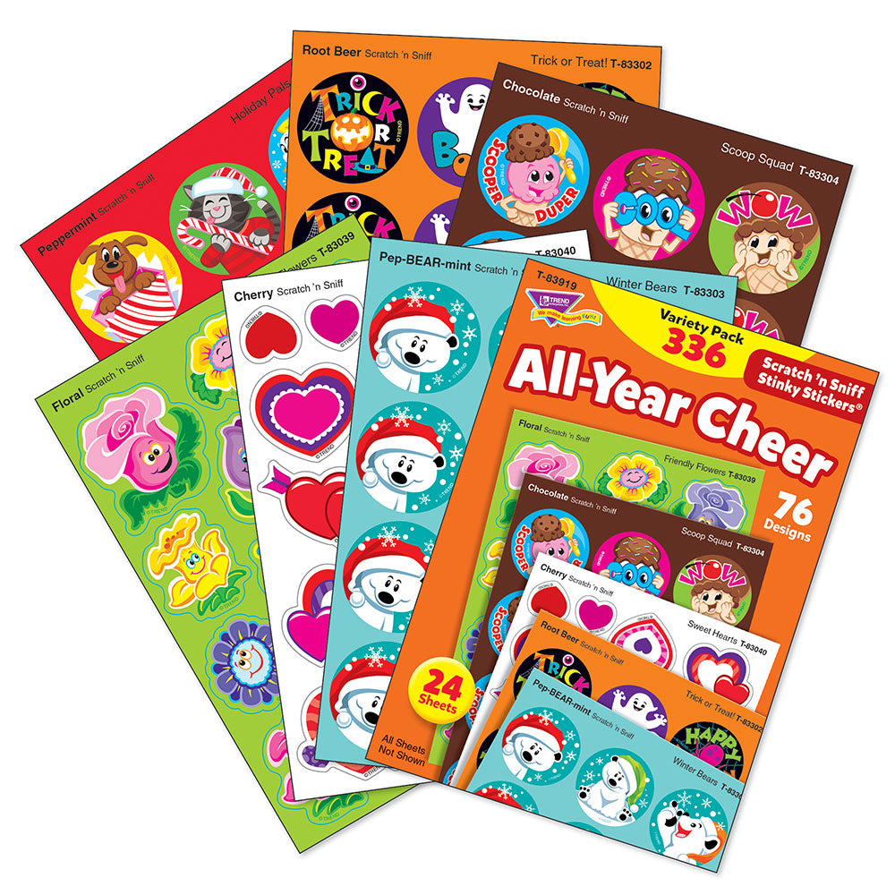 All Year Cheer Scratch 'n Sniff Stinky Stickers Variety Pack (336 stickers) *NEW!
