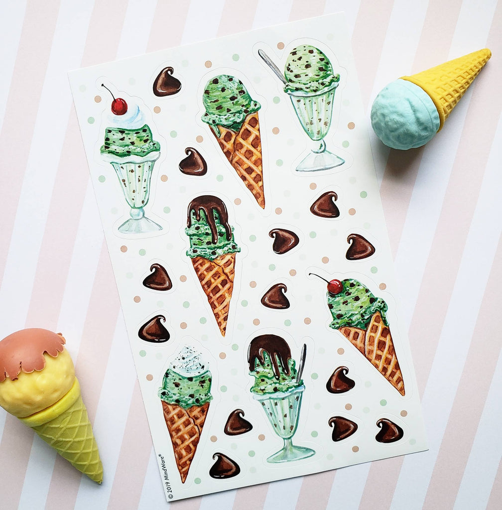 Mint Chocolate Chip Ice Cream Scratch & Sniff Stickers *NEW!