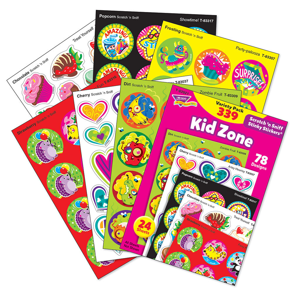 Kid Zone Scratch 'n Sniff Stinky Stickers Variety Pack (339 stickers)