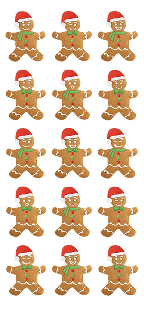Gingerbread Men Puffy Stickers