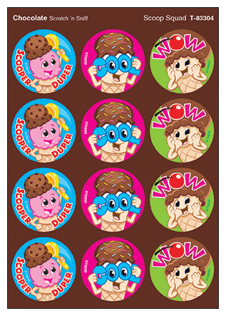 Scoop Squad Ice Cream Scratch 'n Sniff Stinky Stickers (Chocolate Scent) *NEW!